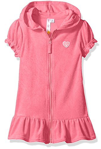 Pink Platinum Little Girls' Hooded Terry Swim Cover Up, Knockout Pink, 6X (Dress Platinum)