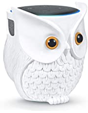 IDEALHOUSE Owl Echo Dot Holder Stand, Owl Statue Smart Speaker Stand for Echo Dot 3rd and 2nd and 1st Generation, Cartoon Decor Owl Shape Home Decor - White
