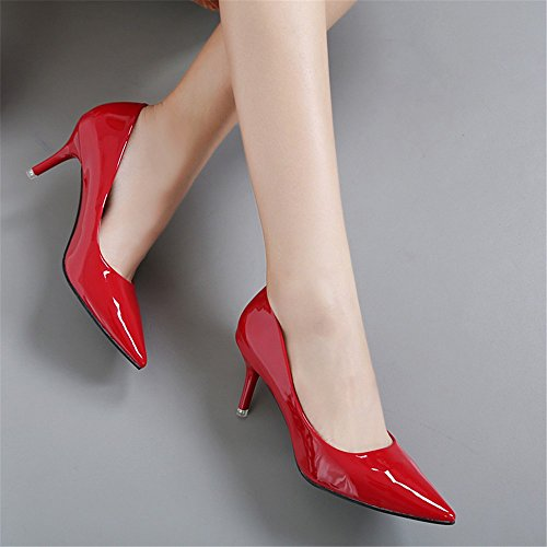 Work Heeled High The Sandals Of Lacquer Leather Black Shoes With Tip Followed Red Fine Shoes Light The WHL EZ5wInqafZ