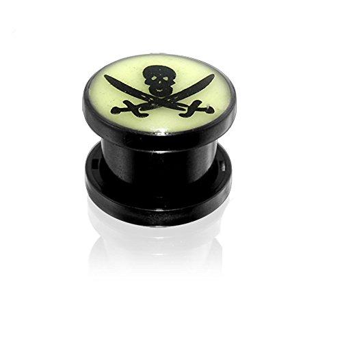 6MM Pirate Skull Glow in the Dark Logo Black UV Fit Ear Flesh Tunnel Body jewelry (Glow In The Dark Eye Contacts)