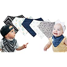 Premium Baby Bandana Drool Bibs for Teething and Drooling Babies, 100% Organic Cotton Hypoallergenic Bibs with Adjustable Snaps, Perfect Baby Shower Gift for Newborns and Toddlers (5-pack)