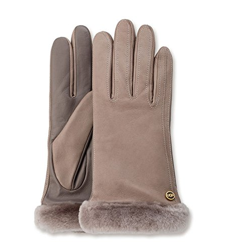 UGG Women's Classic Leather Smart Glove Stormy Grey Two-Tone SM - Two Tone Leather Gloves