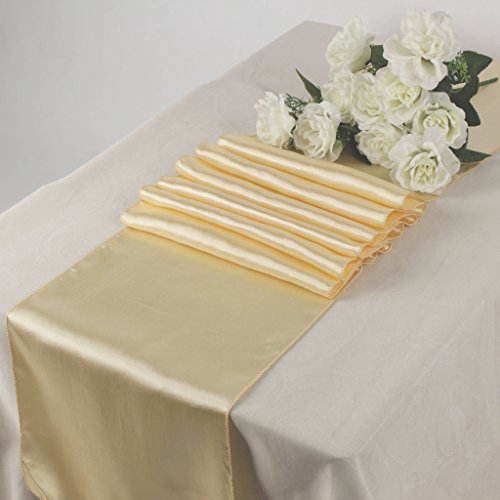 MDS Pack Of 10 Wedding 12 x 108 inch Satin Table Runner For Wedding Banquet Decoration- Cream Cream Table