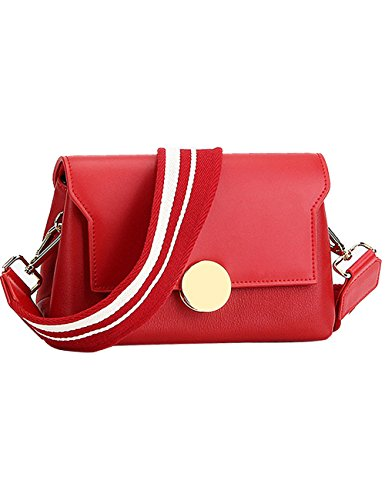 Menschwear Womens Genuine Leather Cross-body Bag Red by Menschwear