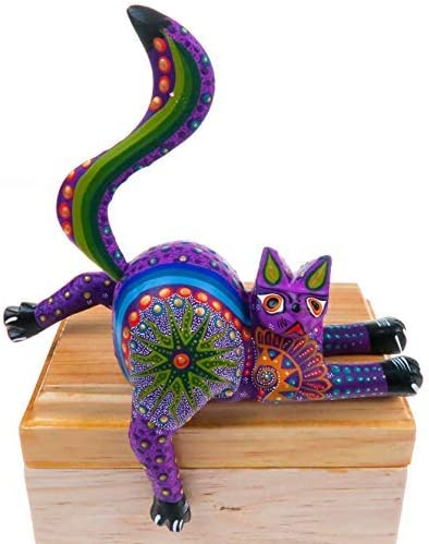 Alebrije Stretching Cat Oaxacan Wood Carving Mexican Handcrafted Sculpture Folk Art Purple