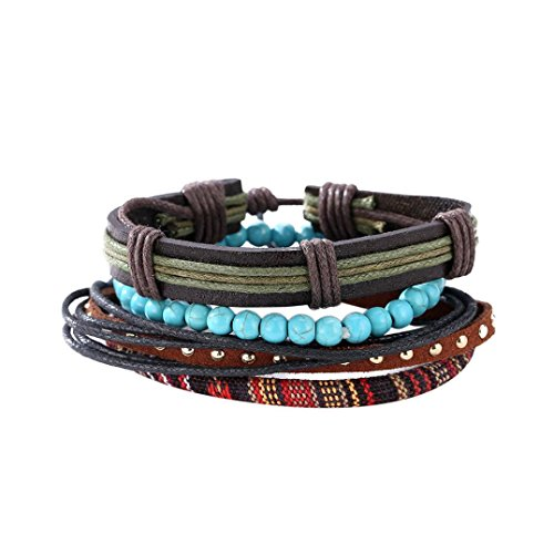 JSPOYOU Clearance Fashion Women Multilayer Handmade Bangle Handmade Bracelets Leather Cool (D)