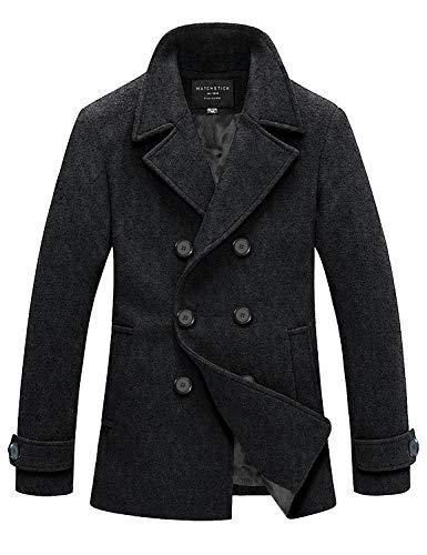 Match Mens Wool Blend Classic Pea Coat Winter Coats(010 Dark Gray, Small)