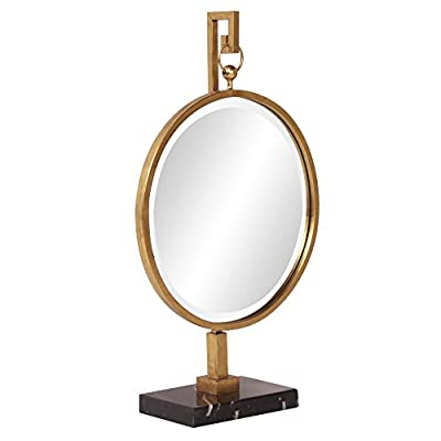 Howard Elliott 11213 Medallion Mirror, Gold - Our Medallion Mirror is a sophisticated piece that sits on your table instead of your wall A round bright gold framed mirror hangs from a matching fixture with a black faux marble base Made of wood - bathroom-mirrors, bathroom-accessories, bathroom - 4155tFfOhSL. SS400  -