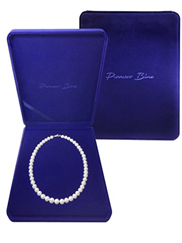 Pearl Necklace Picasso Blue 18K White Gold Plated Sterling Silver AAA Handpicked Round White Natural Freshwater Cultured 18 for Valentine s Day, Birthdays You