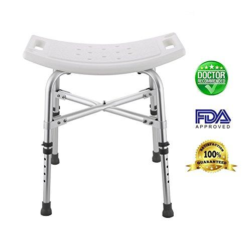 Modrine Shower Stool,Spa Bathtub Shower Lift Chair, Protable Bath Seat, Adjustable Shower Bench,White Bathtub Lift Chair with 1.25mm Cross brace, 280lbs Weight Capacity