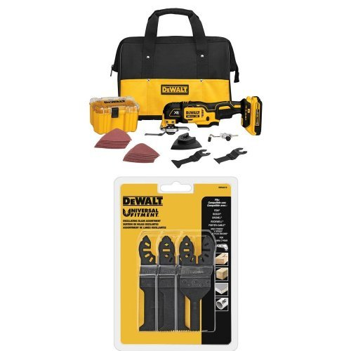 DEWALT DCS355D1 20V XR Lithium-Ion Oscillating Multi-Tool Kit with DWA4215 Oscillating 3-Piece Set