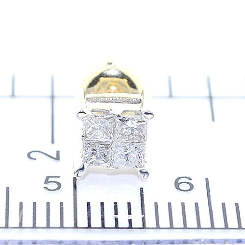 0.5cttw Princess Cut Diamond Earrings Studs Screw Back 10K White Gold 6mm Wide