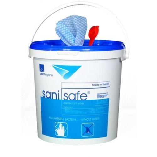 SaniSafe Bucket Wipes 1000 Bucket Wipes (1000) 100g Bucket Polycotton (Each) Allied Hygiene