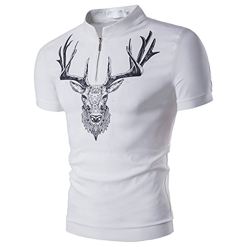 Fashion Personality Men's Casual Slim Short Sleeve,G-Real 2019 New Summer Deer Print Muscle Tee Blouse