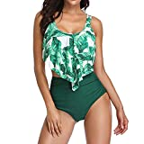 Women Falbala Bikini Swimsuits Plus Size Sexy Backless Halter Beach Printed Two Piece Swimwear Set