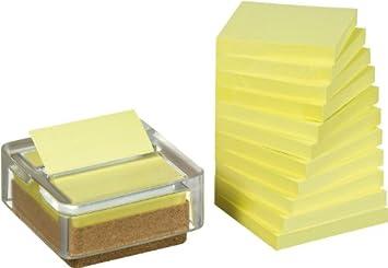 Post-it Pack 12 Blocs Notas Z-Notes Amarillo Recicladas + Dispensador Reciclado: Amazon.es: Oficina y papelería