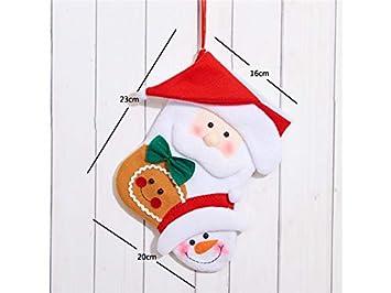 Hermosa Navidad Calcetines de Navidad de Dibujos Animados Bolsa de Dulces Bolsa de Regalos Colgante de árbol de Navidad (Papá Noel Pan de Jengibre): ...