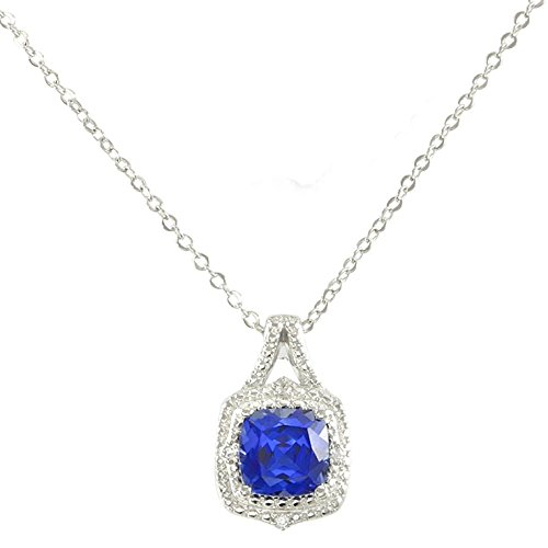 Glamouresq Sterling Silver 14k White Gold Finish Cushion Cut Created Blue Sapphire & White Sapphire Necklace 18