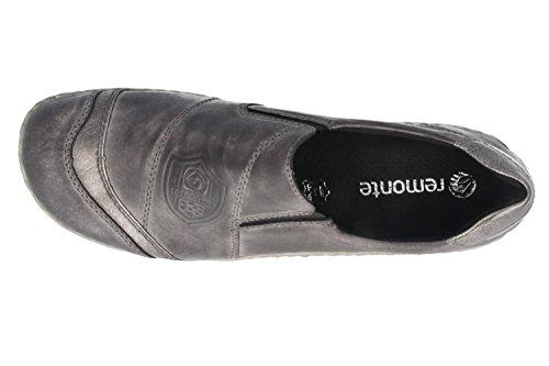 SALE - REMONTE - Damen Slipper - Grau Schuhe in Übergrößen negro/altsilber