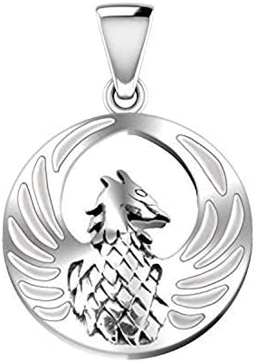 US Jewels Ladies 925 Sterling Silver 0.6in Phoenix Bird Inlaid Simulated Mother of Pearl Pendant 22mm