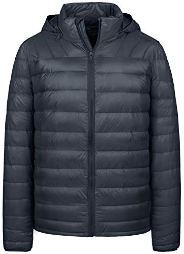 Wantdo Men's Lightweight Down Jacket Puffer Winter Coat with Hood, Grey, XL
