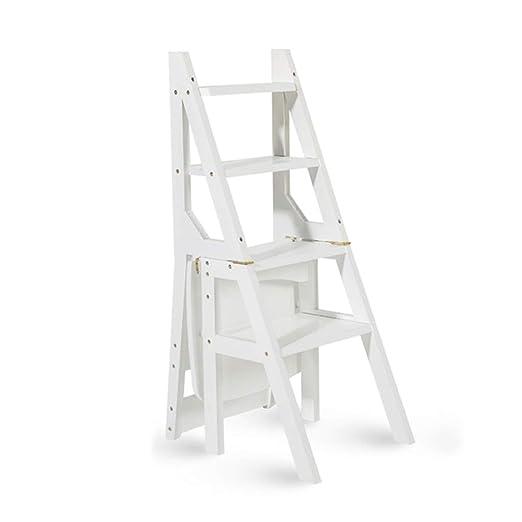 JHome-Stepstools Escalera de Madera Resistente con 4 peldaños Que ...