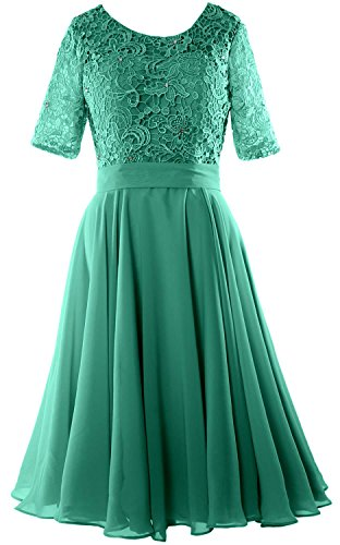 MACloth Women Half Sleeve Lace Formal Gown O Neck Midi Mother of the Bride Dress Oasis dUVZZbMB