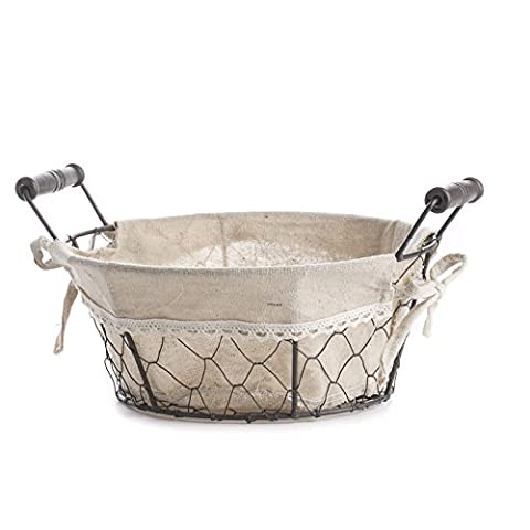 Factory Direct Craft Versatile Round Brown Chicken Wire Basket With Natural Linen Liner for Home Decor and Organizing