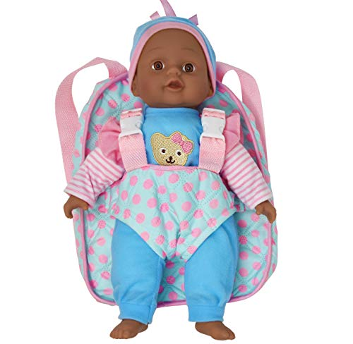 Soft Baby Doll with Take Along Blue and Pink Doll Carrier, Pocket Fits Doll Accessories and Clothing African American 13 Inch
