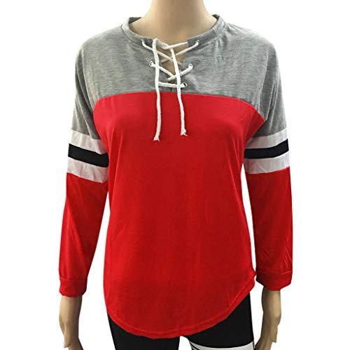 V Manica Lunga Donna Top Casuale Unita Tinta Deelin Blocco Rosso Camicetta Strisce Elegante collo shirt T A WD9YEIH2e