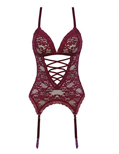 (Amorbella Women's Lace Teddy Lingerie V Neck Nighties Sexy Outfits)