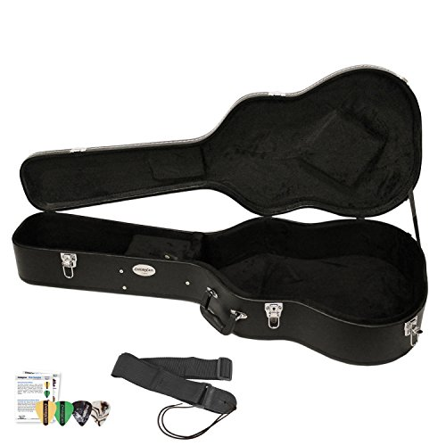 ChromaCast Acoustic Guitar Hard Case CC-AHC with Guitar Strap and Pick Sampler by GO-DPS