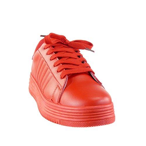Angkorly - Scarpe da Moda Sneaker Tennis zeppe low donna finitura cuciture impunture Tacco zeppa piattaforma 3.5 CM - Rosso