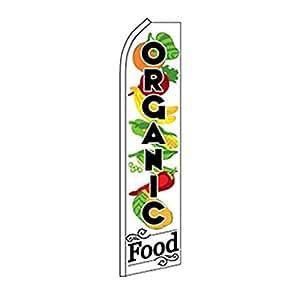 Bandera de alimentos orgánicos con productos Swooper
