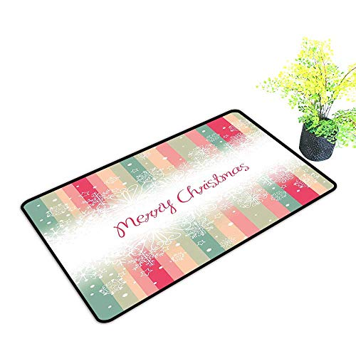 Diycon Front Door Mat Large Outdoor Indoor New Year Colorful Vertical Stripes with Merry Christmas Quote Winter Season Theme Snowflake W24 xL35 Hard and wear Resistant Multicolor (Merry Christmas And Happy New Year In German)