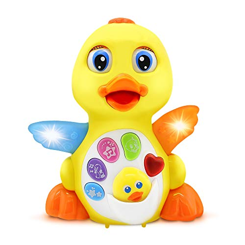 Dancing Duck w/ Lights and Music – Toddler Learning Duck Toy Plays 7 Happy Tunes, 3 Sound Effects, Waddles and Dances – Baby Musical Toys for Toddlers 18+ Months Old