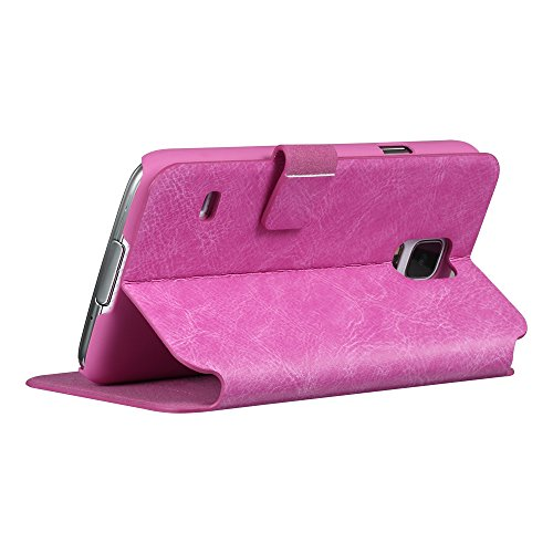 Moon Monkey Imported Genuine Leather Intelligent Window Folio Cover Case for Samsung Galaxy S5 (Rose)