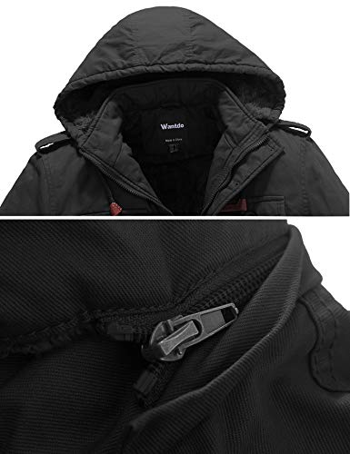Wantdo Men's Thicken Cotton Parka Jacket Casual Winter Coat with Removable Hood