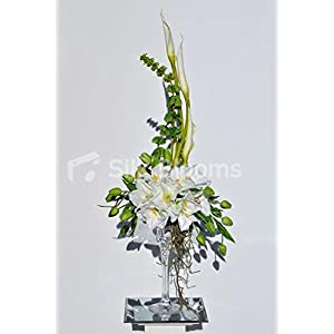Unique White Amaryllis and Tulip Floral Arrangements with Goddess Lilies and Bells of Ireland 26