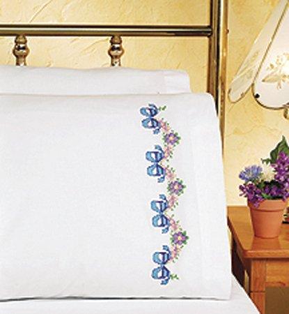 Janlynn Floral Ribbon Pillowcase Pair Stmpd X-Stitch Kit