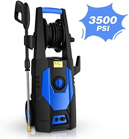 mrliance 3500PSI Electric Pressure Washer 2.0GPM Power Washer 1800W High Pressure Washer Cleaner Machine with Spray Gun, Hose Reel, Brush, and 4 Adjustable Nozzle Blue