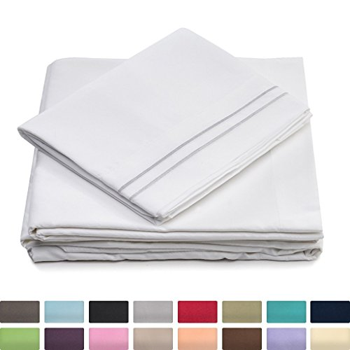 Queen Size Bed Sheets - White Luxury Sheet Set - Deep Pocket - Super Soft Hotel Bedding - Cool & Wrinkle Free - 1 Fitted, 1 Flat, 2 Pillow Cases ()
