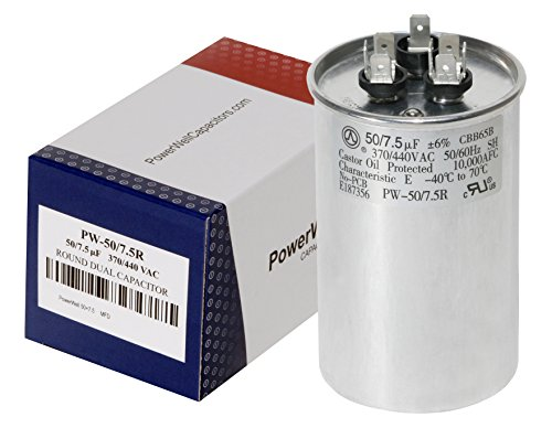 PowerWell 50+7.5 uf MFD 370 or 440 Volt Dual Run Round Capacitor PW-CAP-50/7.5/440R Condenser Straight Cool/Heat Pump Air Conditioner