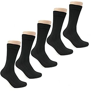 Beverly Hills Polo Club Mens Classic Ribbed Black Business Dress Socks Size 10-13 (5-pack)