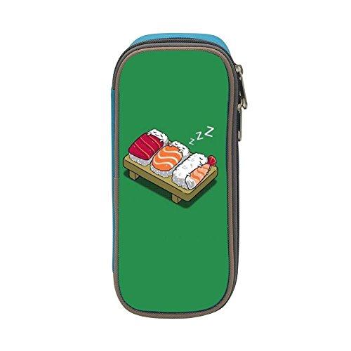 The Magic Custom Sleeping Sushi Pencil Case - Big Capacity Double Zipper Multifunctional Blue Stationery Bag for Kids