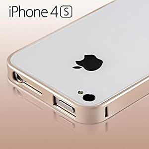 QHY New thin Luxury Hard Aluminum Metal Frame Bumper Case for iPhone 4/4S(Assorted Colors) , Golden