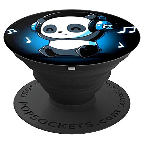 cool cute panda listening to music love music popsocket - PopSockets Grip and Stand for Phones and Tablets ()