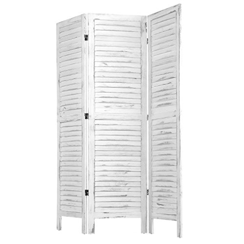 MyGift Whitewashed Wood 3 Panel Screen, Folding Louvered Room Divider by MyGift (Image #3)'
