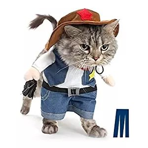 Pet Dog Cat Halloween costumes The Cowboy for Party Christmas Events Costume Uniform with Hat Funny Pet Outfit Clothing for dog cat (M)