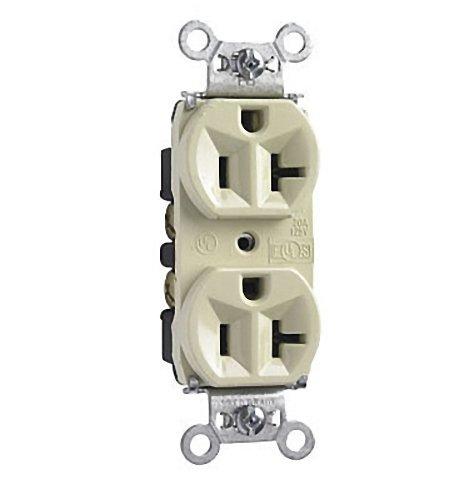 Pass and Seymour Ivory INDUSTRIAL NARROW Receptacle Duplex Outlet 20A (20r Duplex Outlets)
